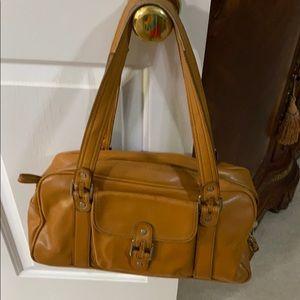 Used brown leather three peace bag set.